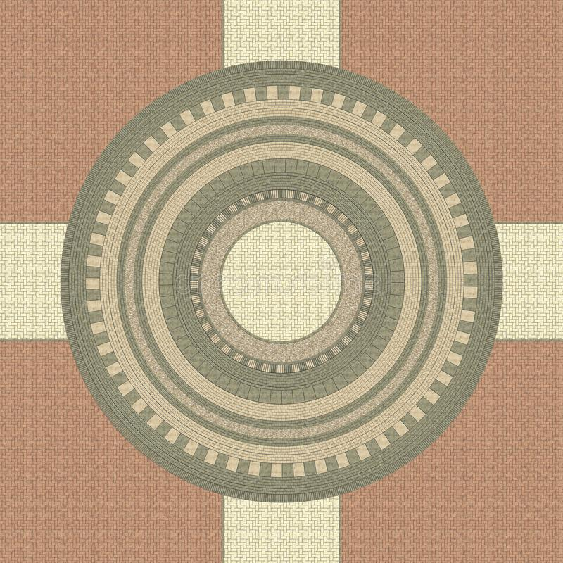 Cobblestone pavement in a colored circular pattern. Texture of the round paving stones. Top view. Circular pattern. 3D rendering i. Llustration royalty free illustration