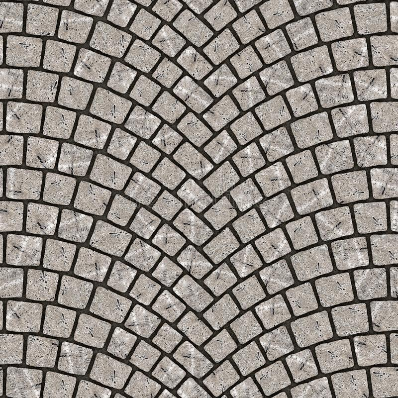 Arched cobblestone pavement texture 075. Cobblestone pavement street with arched pattern. Seamless tileable repeating square 3D rendering texture royalty free illustration
