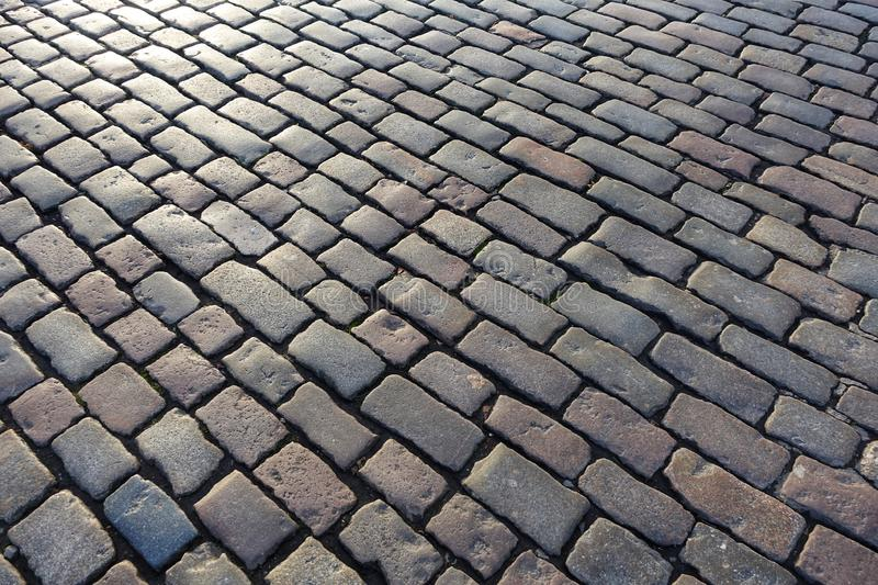 Cobblestone road background texture royalty free stock image