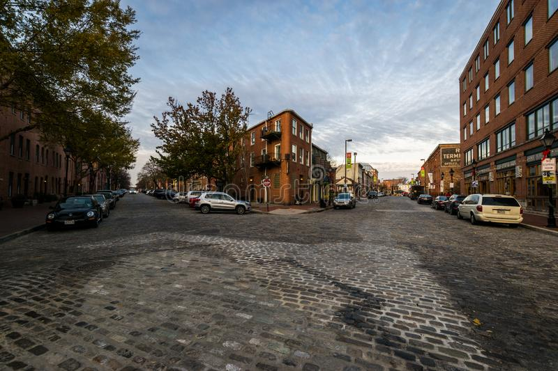 Cobblestone Roads in downtown historic Harbor East/ Fells Point, Baltimore Maryland stock images