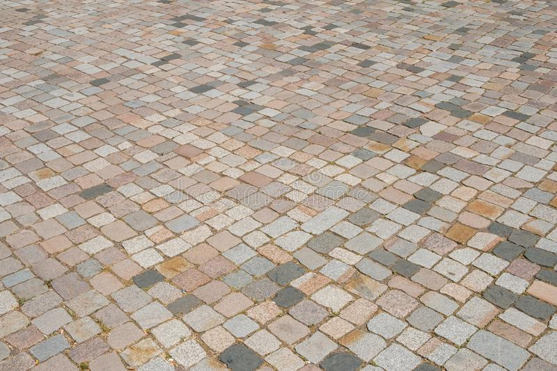 Cobblestone sidewalk, cobble stone paved floor - pavement.  stock photography