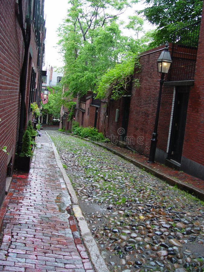 Download Cobblestone Street On Beacon Hill Royalty Free Stock Images - Image: 1098529