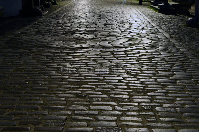 Download Cobblestone street [night] stock image. Image of curb - 6061195
