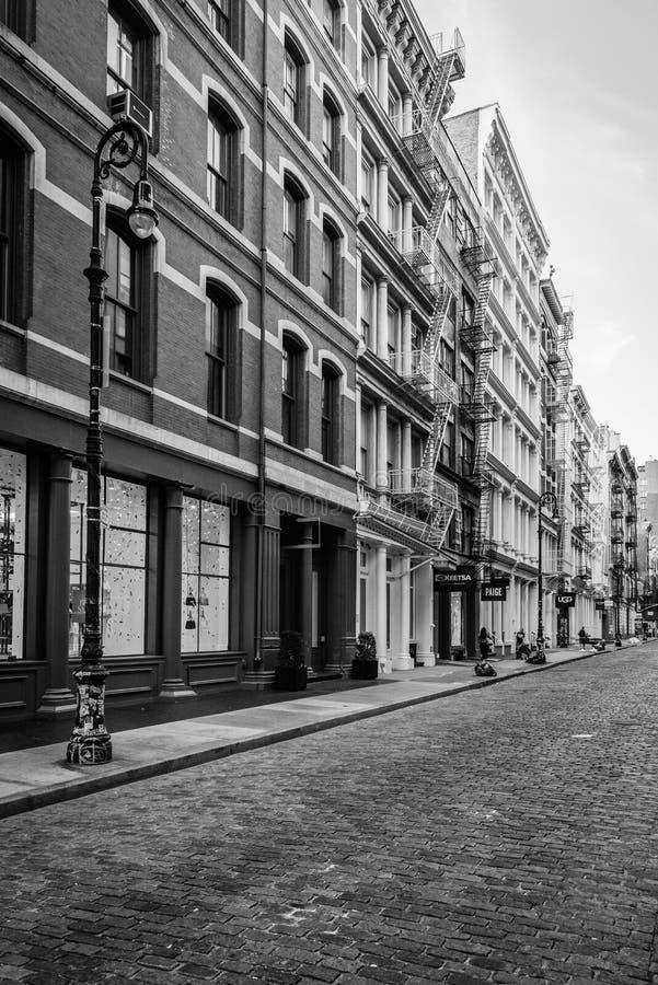 A cobblestone street in SoHo, Manhattan, New York City stock images