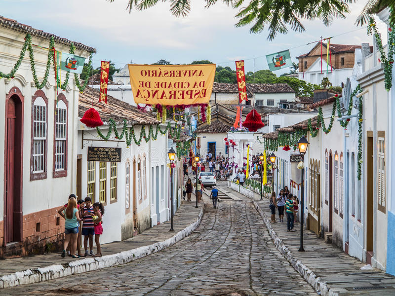 A cobblestone street in the Unesco world heritage site of Goias royalty free stock photos