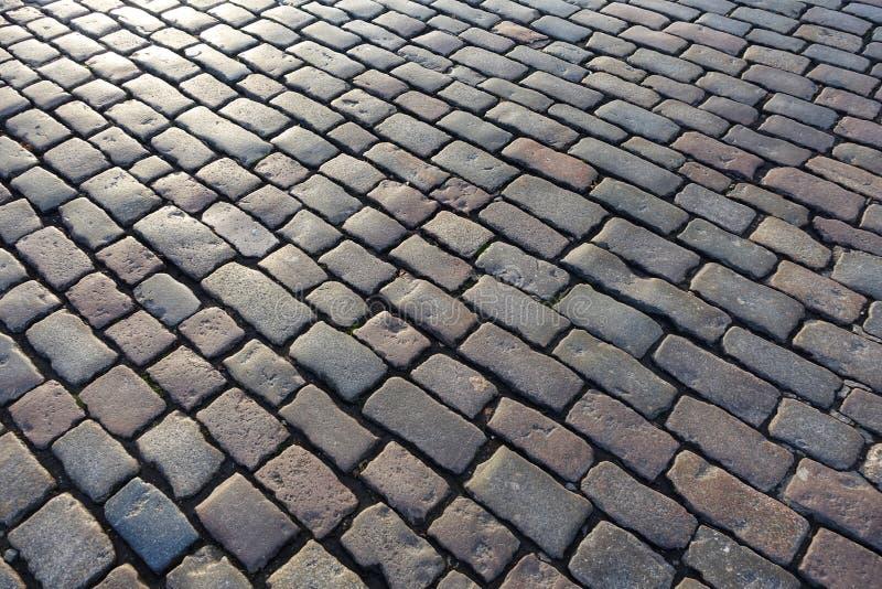 Cobblestone tekstura tła drogi obraz royalty free
