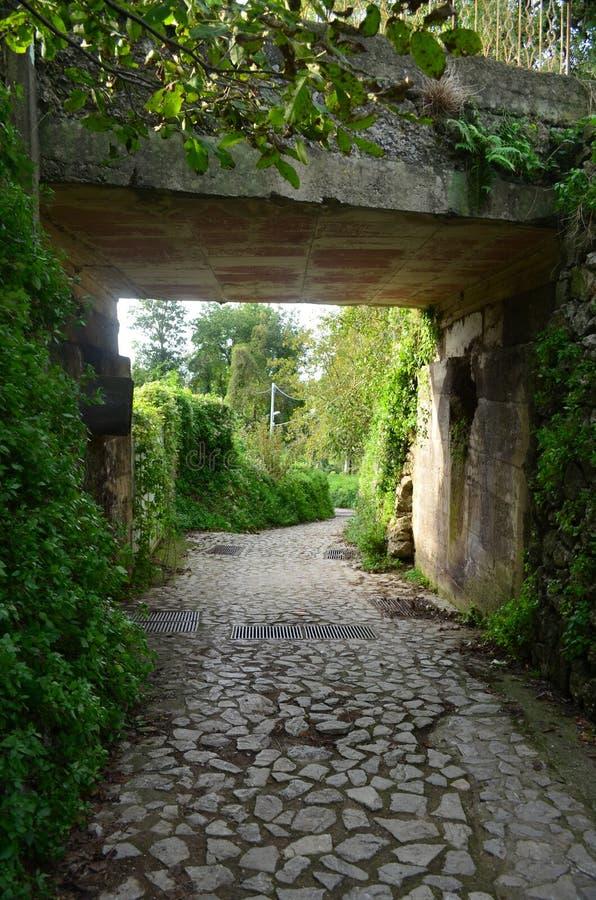 Cobblestone Walk Way Along the Amalfi Coast. Cobblestone walk way in a village along the Amalfi Coast in Italy royalty free stock image