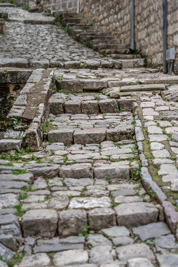 Cobblestoned Straße in alter Stadt Kotor lizenzfreie stockfotografie