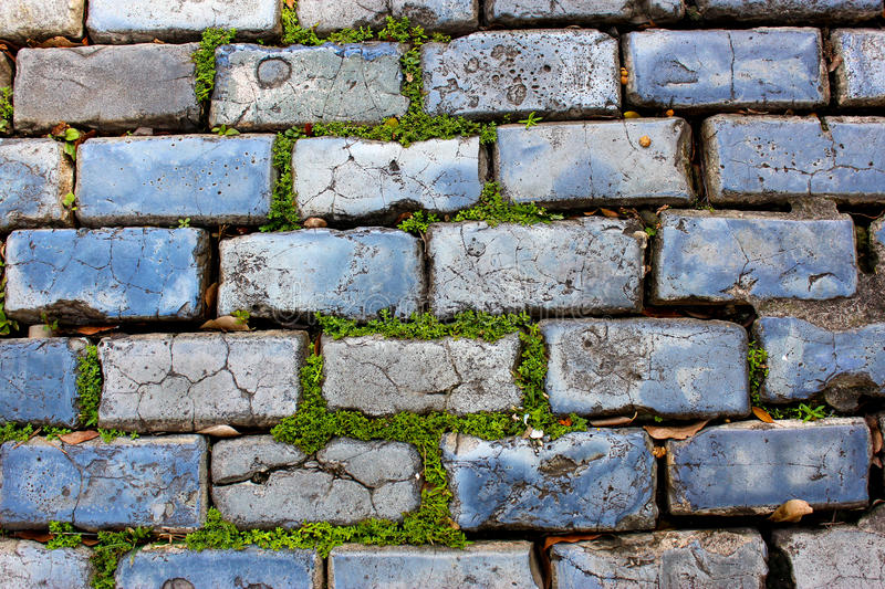 CobbleStones (Adoquines) on an Old San Juan Street. Over 500 years old. Recycled Iron Foundries Slag stock images