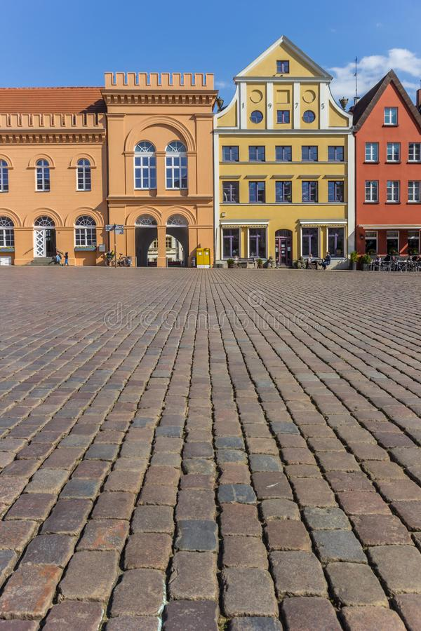 Cobblestones at the colorful market square of Schwerin stock images