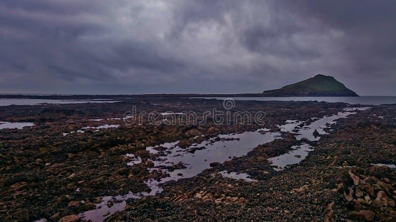Cobbly海滩在高尔半岛,威尔士 库存图片