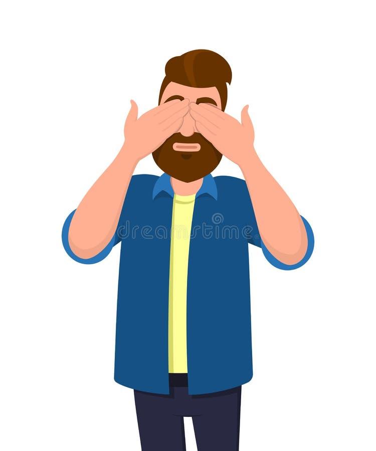 A coberta do homem/o fechamento de seus olhos com mãos e a fatura não veem o gesto O homem não quer ver Ilustração do conceito de ilustração do vetor