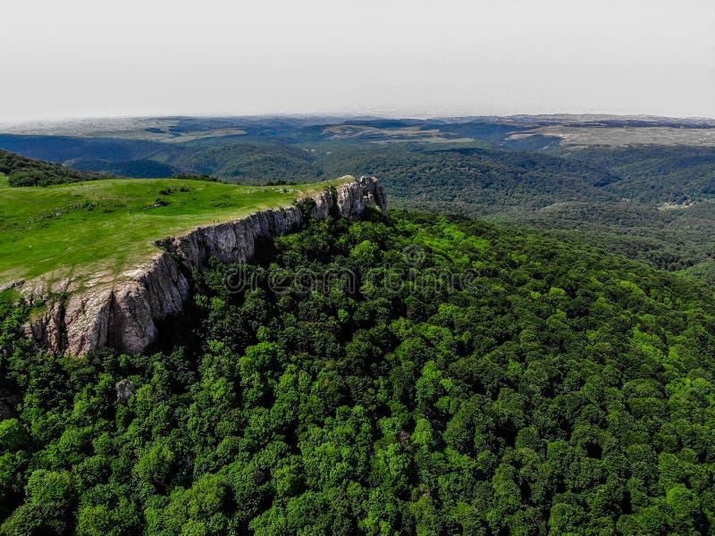 Coberto com as montanhas verdes grossas da floresta de Crimeia fotos de stock