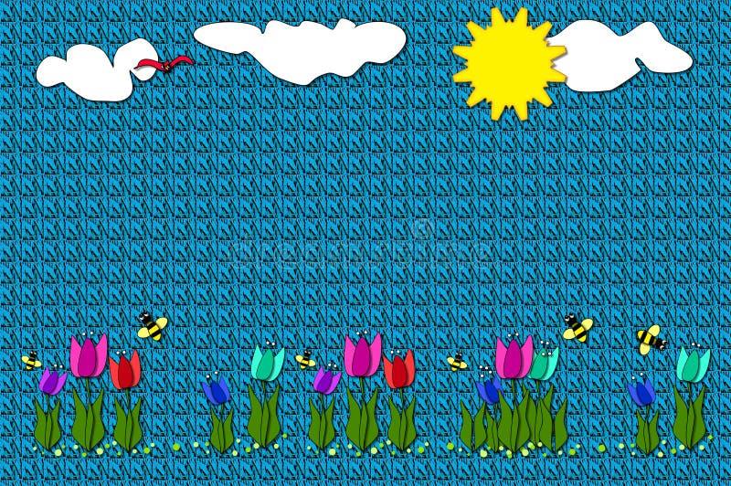 Cobertor com tulips appliqued ilustração do vetor