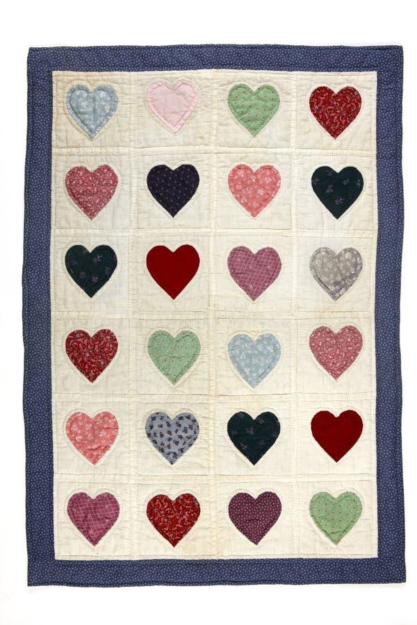 Cobertor do quilt do coração imagem de stock royalty free