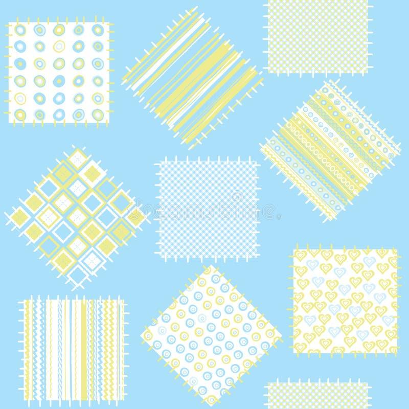 Cobertor para bebés com correcções de programa azuis ilustração stock