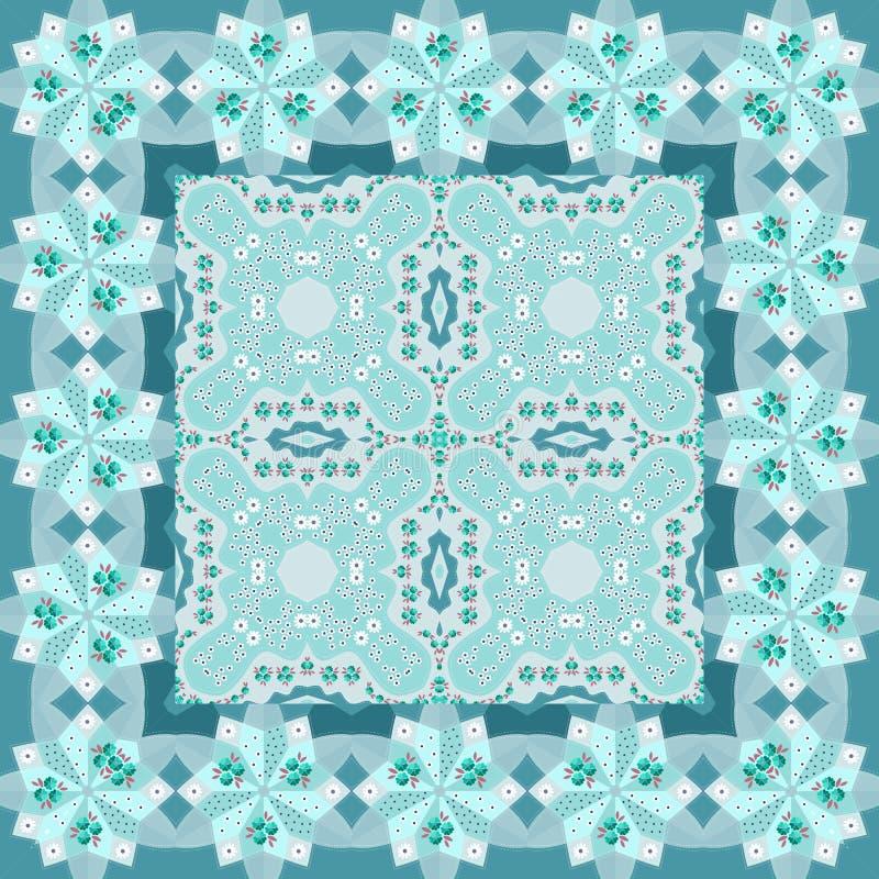 cobertor Teste padrão bonito com as flores em tons azuis ilustração do vetor