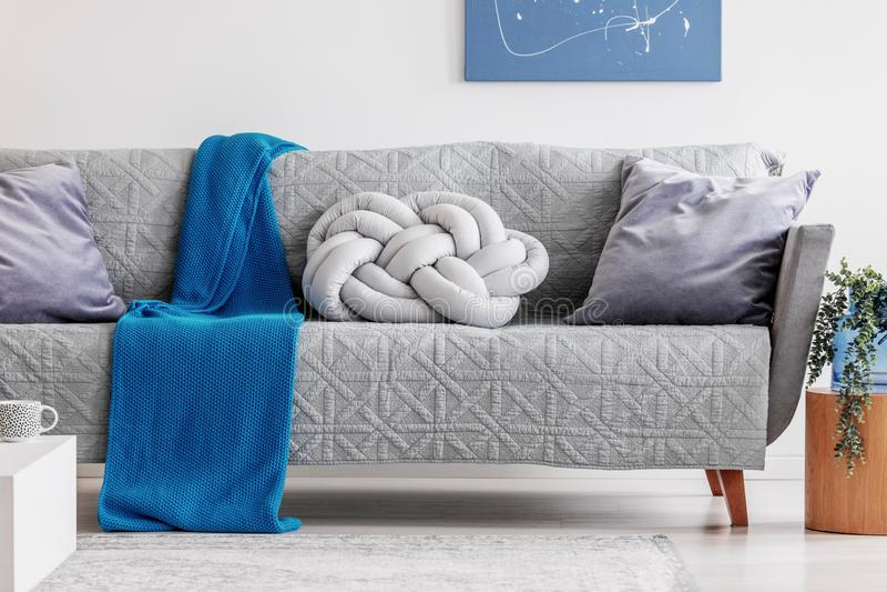 Cobertura azul e descanso cinzento do n? no sof? na moda na sala de visitas chique imagens de stock royalty free
