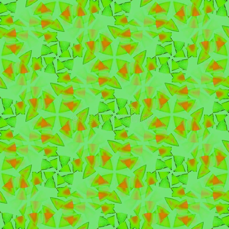 Cobertura verde alaranjada do teste padrão sem emenda dos triângulos borrada ilustração do vetor