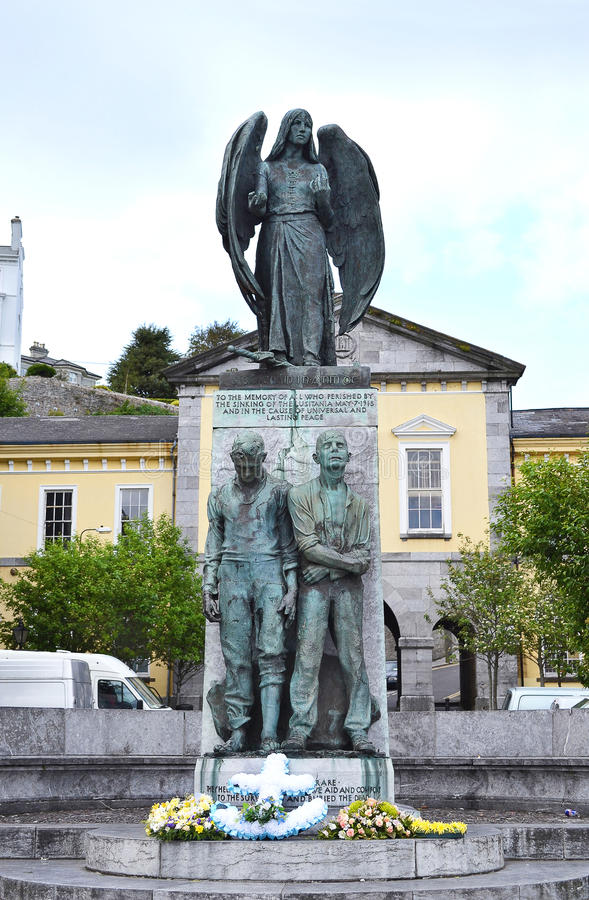 Cobh, Ireland, Lusitania memorial statue. COBH, IRELAND - MAY 14,2011: Lusitania memorial statue. The monument, in Casement Square was designed by Jerome O` royalty free stock photo