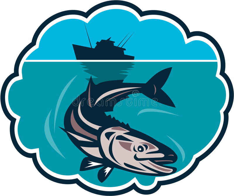 Fish Fishing Boat Bubble Retro. Illustration of a (Rachycentron canadum) or black kingfish, black salmon, ling, lemonfish, crabeater, prodigal son, black bonito vector illustration