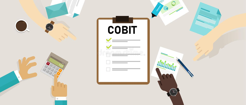 COBIT, Controledoelstellingen voor Informatie en Verwante Technologie?n Concept met sleutelwoorden, brieven en pictogrammenvector royalty-vrije illustratie