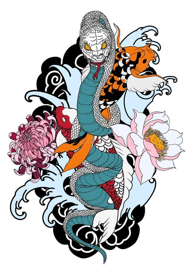 Cobra βασιλιάδων και παραδοσιακή δερματοστιξία ψαριών koi Χέρι που σύρονται και ασιατικό φίδι σχεδίου δερματοστιξιών με τον κυπρί απεικόνιση αποθεμάτων