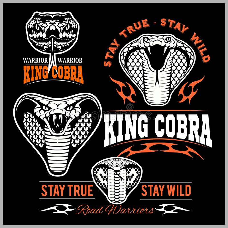 Cobra βασιλιάδων μπαλωμάτων ποδηλατών - διανυσματικό σύνολο διανυσματική απεικόνιση