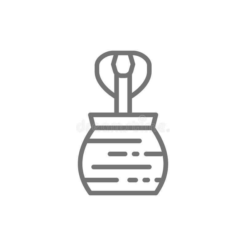 Cobra dans la cruche, ligne qualifiée icône de serpent illustration libre de droits