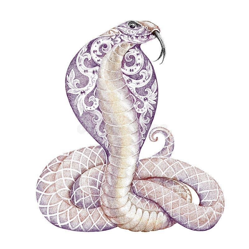 Cobra de la serpiente del tatuaje con abierto encapuchada libre illustration