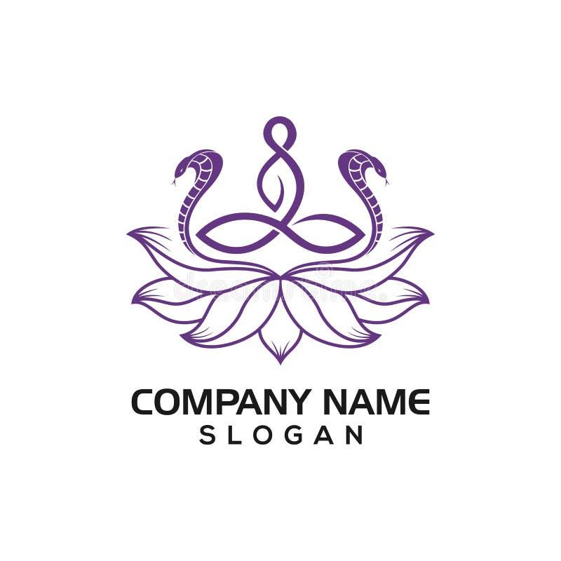 Cobra, de menselijk in yoga stelt en Lotus voor het gezonde grafische middel van het embleempictogram stock illustratie