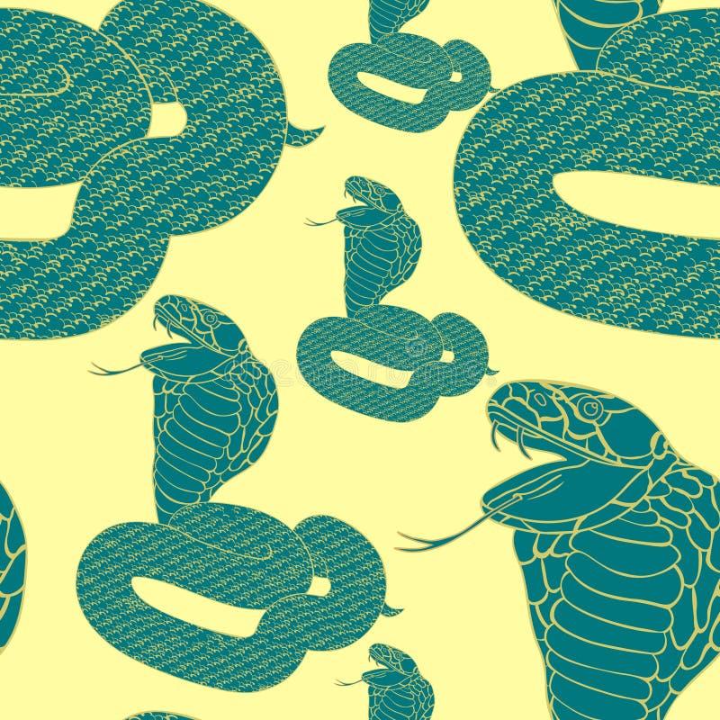 Cobra real inconsútil del verde del modelo con los colmillos Vector Illustratio ilustración del vector