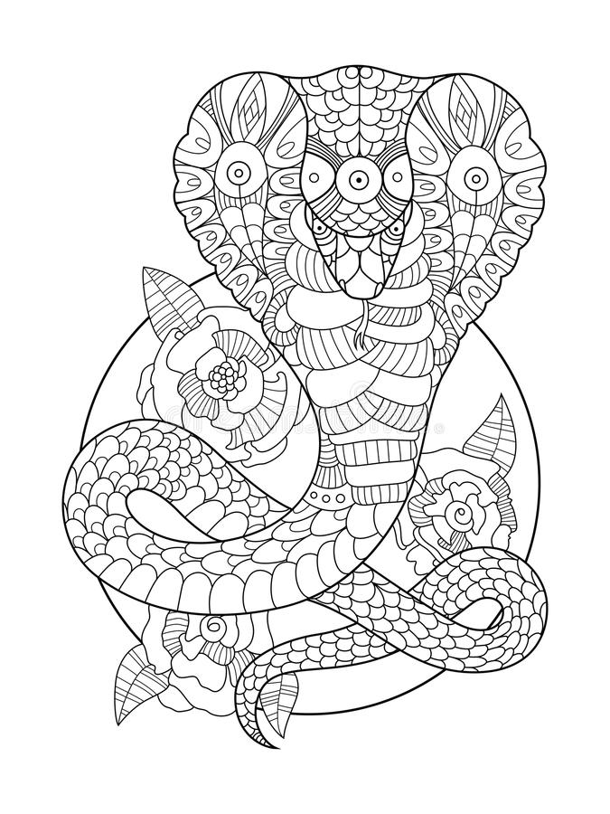 Cobra Snake Coloring Book For Adults Vector Stock Vector ...