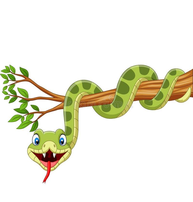 Cobra verde de desenho animado em galho de árvore ilustração royalty free