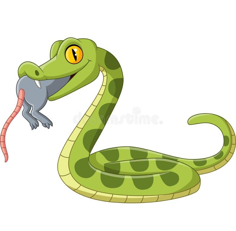 Cobra verde de desenho comendo um rato ilustração royalty free