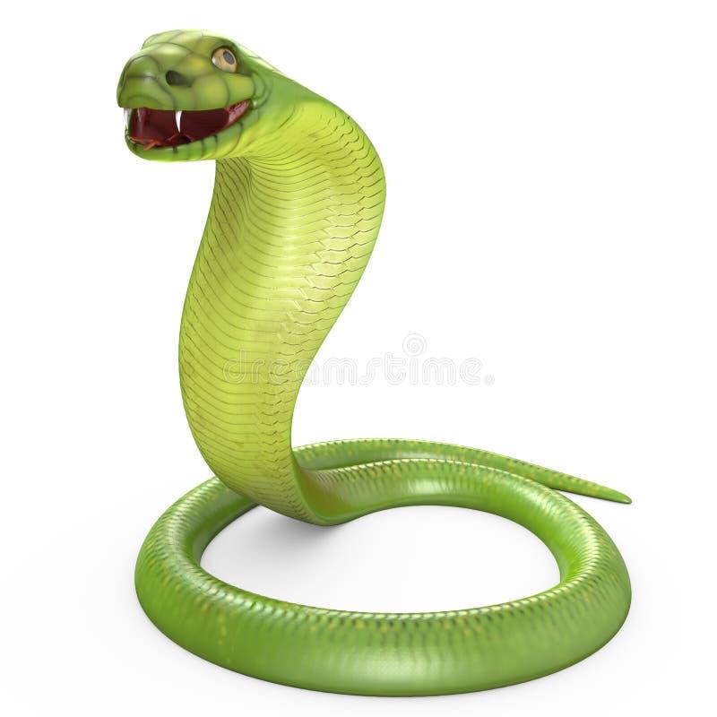 Cobra vert déplié en boucle illustration stock