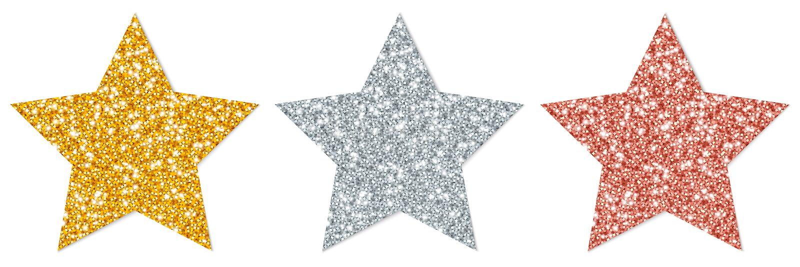 Cobre chispeante de la plata del oro de tres estrellas libre illustration