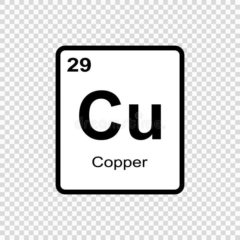 cobre do elemento químico ilustração do vetor