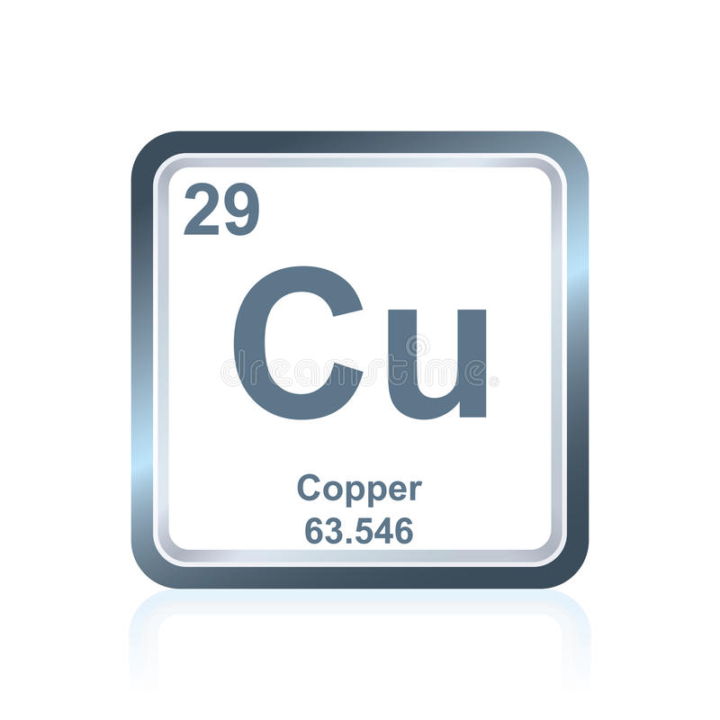 Cobre do elemento químico da tabela periódica ilustração royalty free