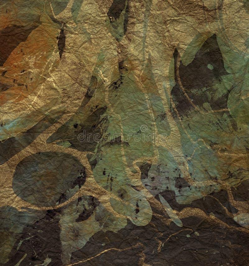Cobre, ouro, papel de mármore verde ilustração do vetor