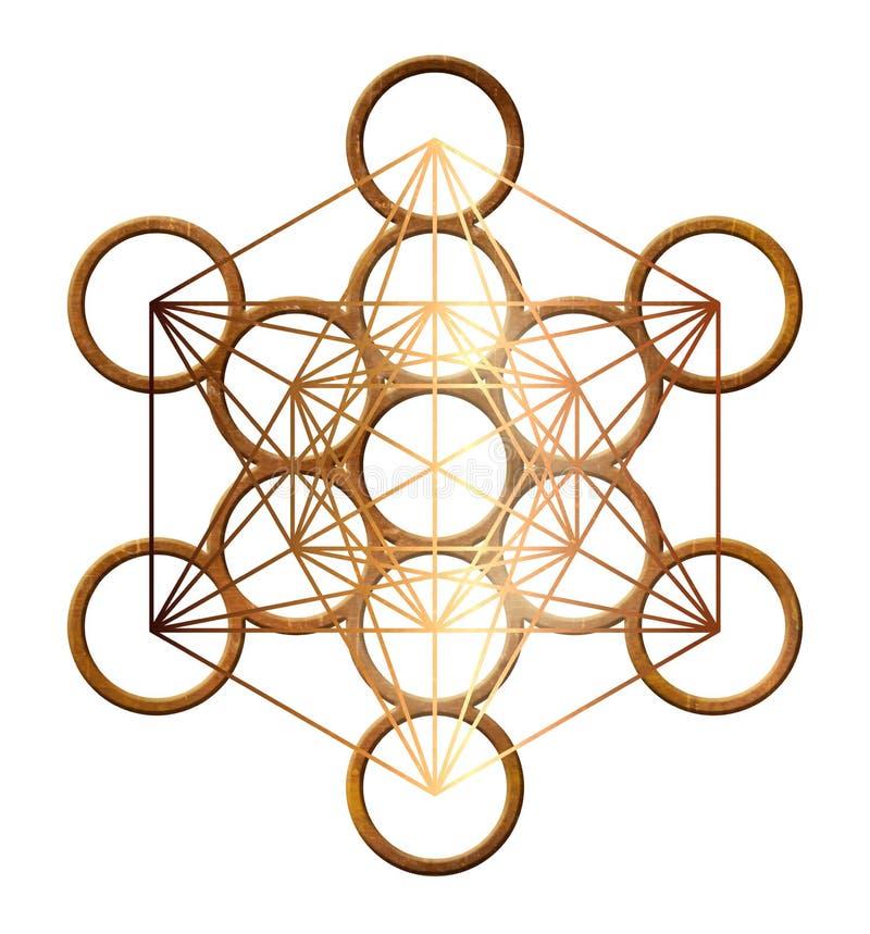 Cobre santamente do ouro da geometria do cubo de Metatron platônico ilustração do vetor