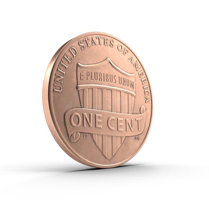 Cobre uma moeda Penny Isolated do centavo no branco 3D ilustração, trajeto de grampeamento ilustração stock