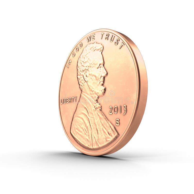 Cobre uma moeda Penny Isolated do centavo no branco 3D ilustração, trajeto de grampeamento ilustração royalty free