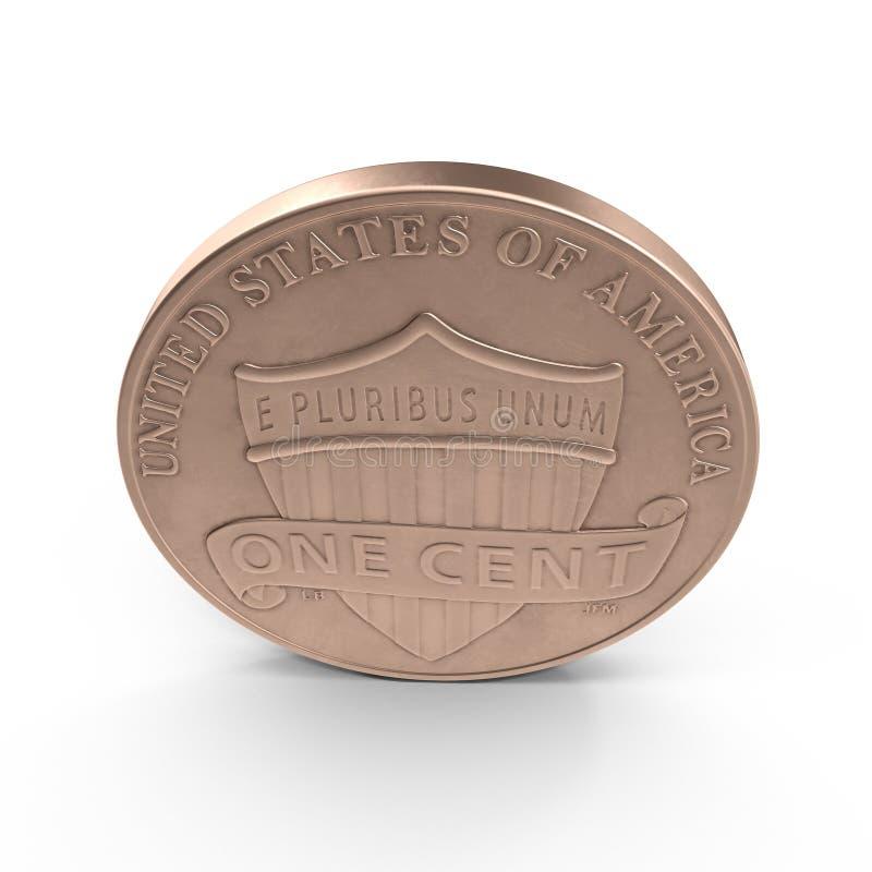 Cobre uma moeda Penny Isolated do centavo no branco 3D ilustração, trajeto de grampeamento ilustração do vetor