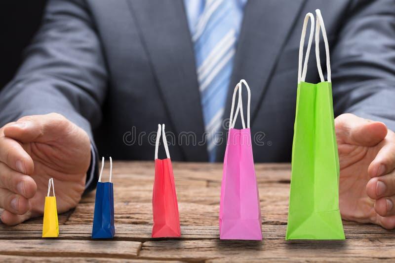 Cobrindo os vários sacos de compras arranjados na ordem crescente imagem de stock royalty free