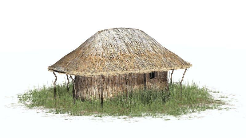 Cobrir com sapê a cabana na grama - no fundo branco ilustração stock
