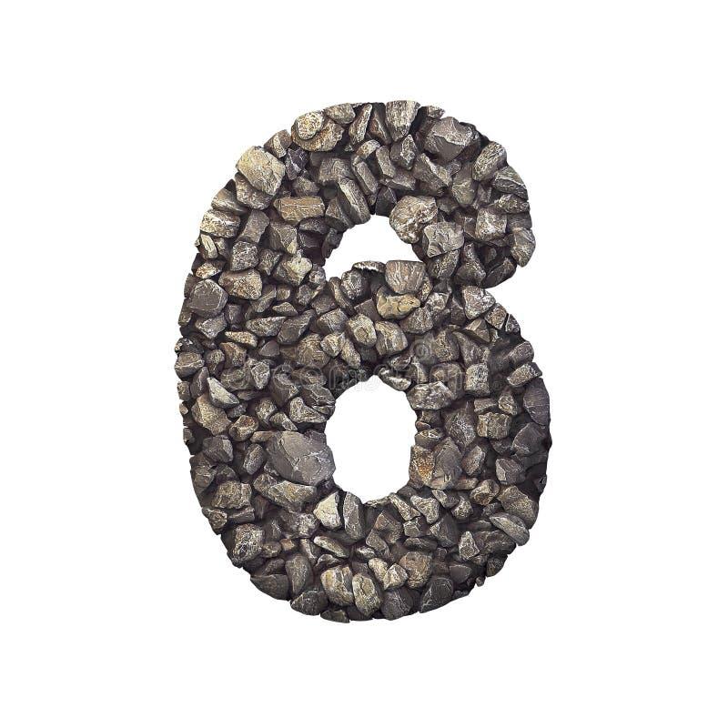 Cobrir a natureza do número 6 - dígito da rocha 3d esmagada -, o ambiente, os materiais de construção ou o conceito dos bens imob ilustração stock