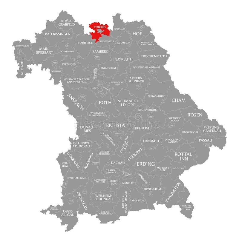 Coburg okręgu administracyjnego czerwień podkreślająca w mapie Bavaria Niemcy royalty ilustracja