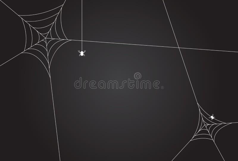 Cobweb, isolé sur fond noir et transparent Illustration du vecteur d'araignée effrayante Silhouette de toile blanche isolée dans  illustration libre de droits