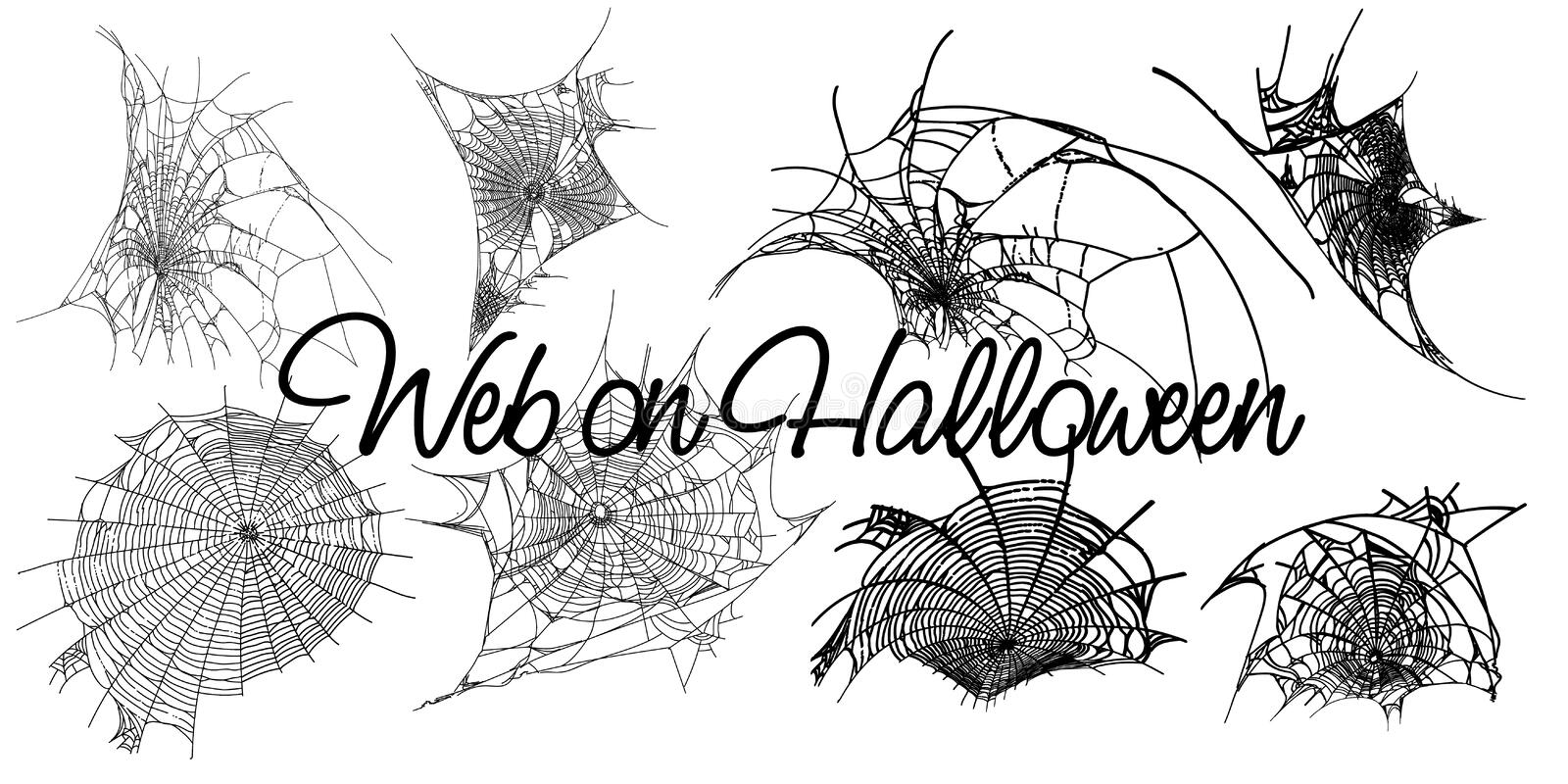 Cobweb set isolated on grunge vintage white background. Halloween spider elements. Vector illustration for spider design stock illustration